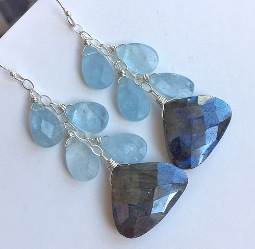 Aquamarine and Labradorite Mermaid Dangles