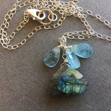 Load image into Gallery viewer, Aquamarine and Labradorite Mermaid Necklace