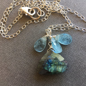 Aquamarine and Labradorite Mermaid Necklace