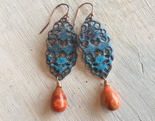 Load image into Gallery viewer, Lace Enamel Earrings with Sponge Coral , Metal Choices