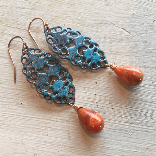 Aqua Lace Enamel Earrings with Sponge Coral , Metal Choices