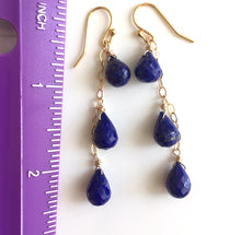 Load image into Gallery viewer, Night Sky Teardrop Lapis Cascade Earrings, Gold, Silver, or Rose Gold