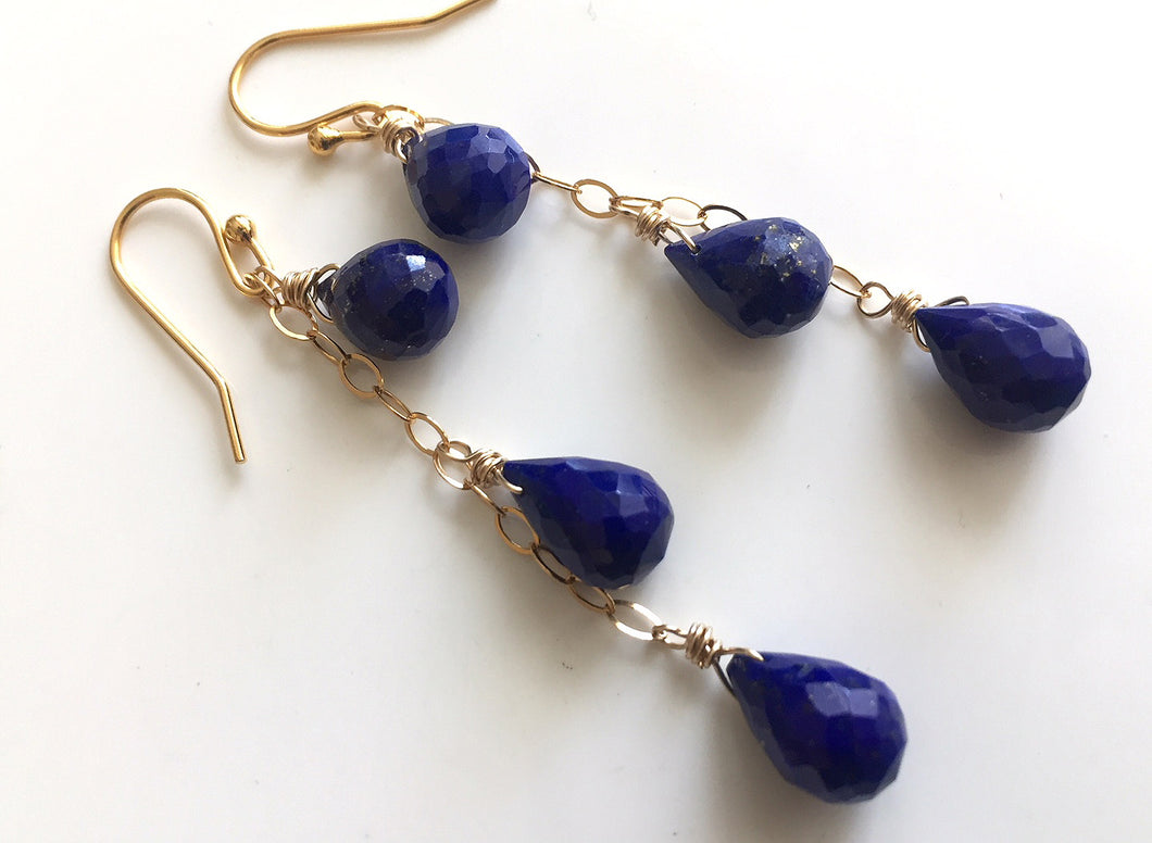 Night Sky Teardrop Lapis Cascade Earrings, Gold, Silver, or Rose Gold