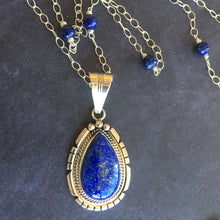 Load image into Gallery viewer, Lapis Lazuli Feather Back Pendant Necklace, OOAK, Heirloom