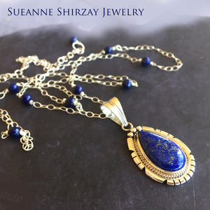 Lapis Lazuli Feather Back Pendant Necklace, OOAK, Heirloom