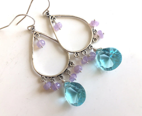 Scorolite Opal earrings with Blue Quartz