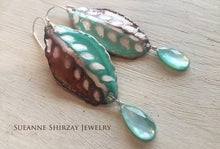 Load image into Gallery viewer, Enameled abstract leaf with triple layer (triplet) earrings -OOAK