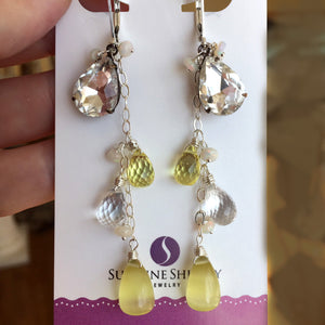 Lemon Drop Dangles, mixed metals