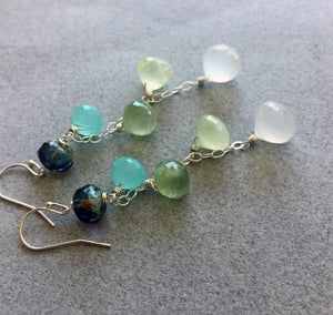Lemonade Cascade Earrings, Earwire options, OOAK