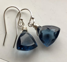 Load image into Gallery viewer, Smokey Blue Trillion Earrings