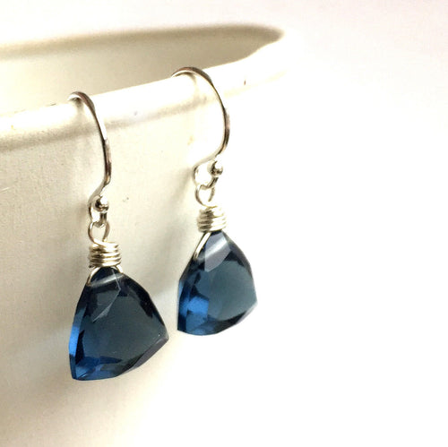 Smokey Blue Trillion Earrings