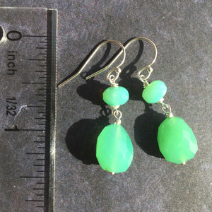 SET, Chrysoprase Lotus Necklace and Earrings, OOAK
