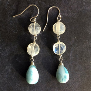 Lounge Chair Larimar and Rainbow Moonstone Dangles
