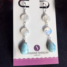 Load image into Gallery viewer, Lounge Chair Larimar and Rainbow Moonstone Dangles