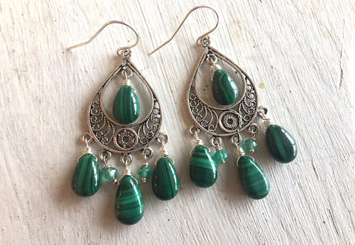 Natural Malachite Chandelier Earrings