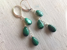 Load image into Gallery viewer, Natural Malachite Cascade Earrings