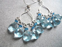 Load image into Gallery viewer, Malibu  Infinity Chandelier Earrings version 2 - Light Aquamarine Blue Quartz