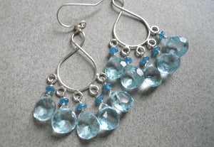 Malibu  Infinity Chandelier Earrings version 2 - Light Aquamarine Blue Quartz