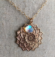 Load image into Gallery viewer, Mandala Necklace with Seafoam Fire Opal