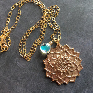 Mandala Necklace with Seafoam Fire Opal