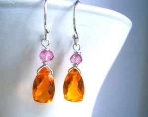 Mini Sunshine on a Cloudy Day Chandeliers, Mandarin Garnet Colored Quartz