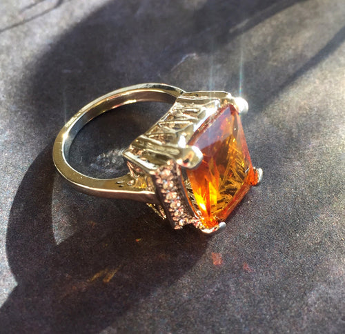 Mandarin Garnet Look Fun Ring, 7, OOAK