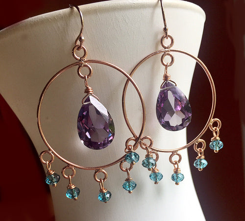 Alexandrite Color Change Quartz Rose Gold Hoops