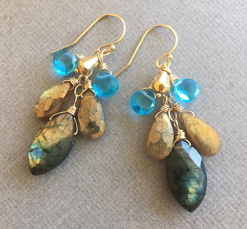 Marquise Labradorite Flash Cascade Earrings - OOAK