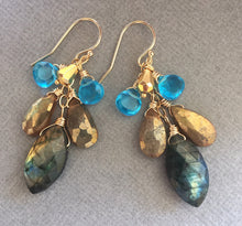 Load image into Gallery viewer, Marquise Labradorite Flash Cascade Earrings - OOAK