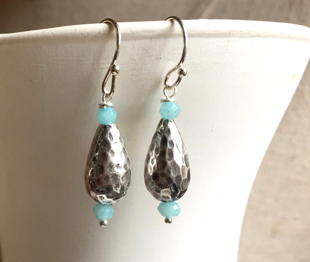 Textured Sterling Earrings (Customize the stones if you wish)