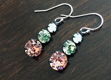 Load image into Gallery viewer, Midge Dangles, Color of The Year, Living Coral, Vintage 1950's Swarovski crystal