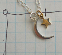 Load image into Gallery viewer, Moon and Star Necklace