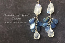 Load image into Gallery viewer, Drama Queen Rainbow Moonstone and Kyanite Shimmer Dangles, limited quantity