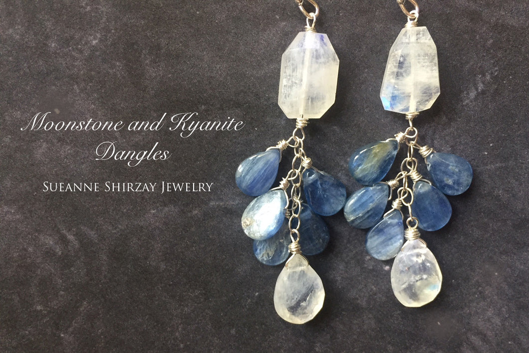 Drama Queen Rainbow Moonstone and Kyanite Shimmer Dangles, limited quantity