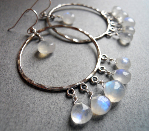 rainbow moonstone hoop earrings