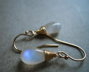 Moonstone spiral earrings, Smooth Pear cut