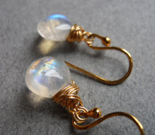 Load image into Gallery viewer, Moonstone twist earrings, Sterling, Gold or Rose Gold