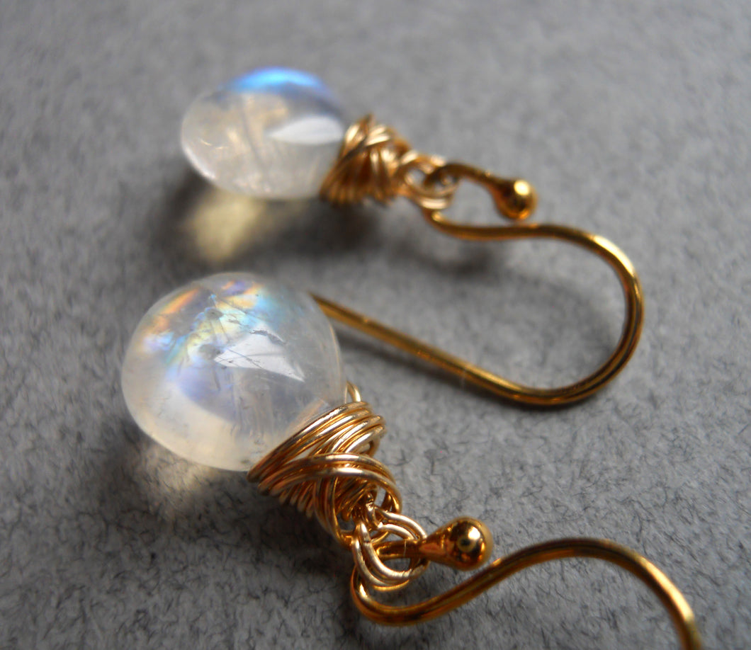Moonstone twist earrings, Sterling, Gold or Rose Gold