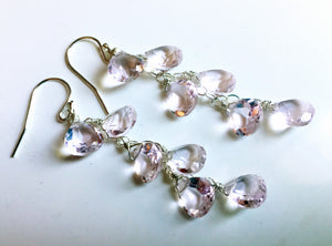 Pink Morganite Quartz Cascade earrings