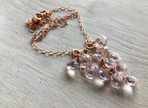 Pink Morganite Quartz Cluster Necklace