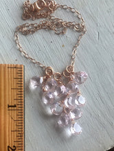 Load image into Gallery viewer, Morganite Pink Cluster Necklace, Metal Options
