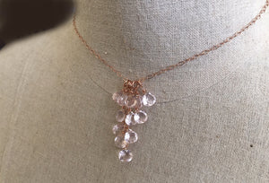 Morganite Pink Cluster Necklace, Metal Options