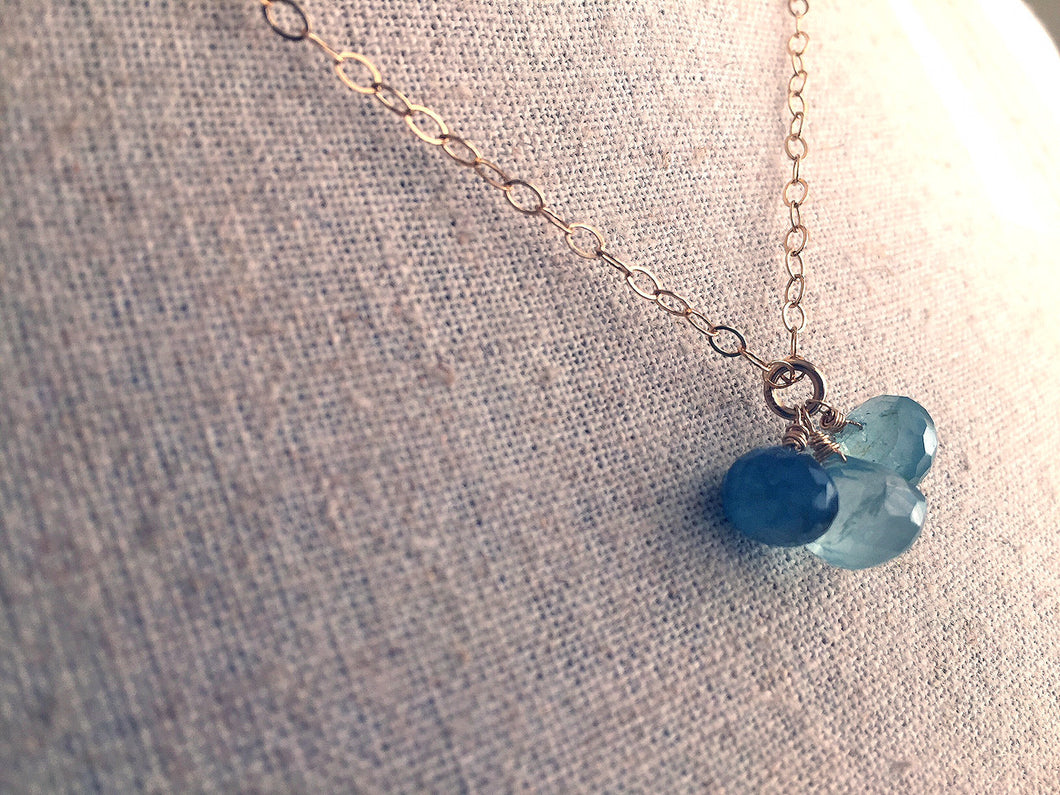 RARE Moss Aquamarine Trio Necklace OOAK #2
