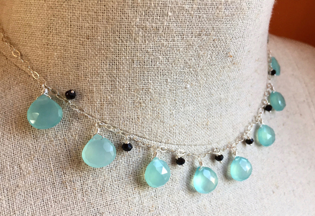 Mustique Necklace in aqua chalcedony with black onyx
