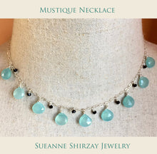 Load image into Gallery viewer, Mustique Necklace in aqua chalcedony with black onyx