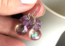 Load image into Gallery viewer, Prism Tri-color Mystic Quartz and Amethyst Cluster Earrings, Metal options