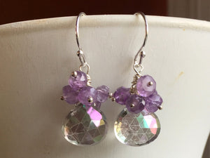Prism Tri-color Mystic Quartz and Amethyst Cluster Earrings, Metal options
