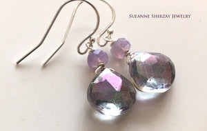 Scorolite Opal Prism Quartz Earrings, Metal options