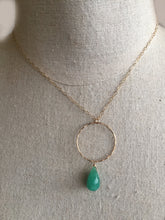 Load image into Gallery viewer, Natural Emerald and Gold Hoop Necklace, OOAK