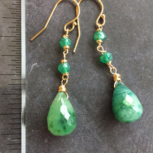 Natural Emerald Dangle Earrings, imperfect